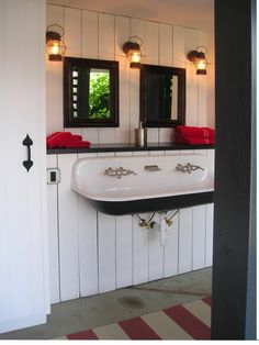 another Kohler trough sink - this shows the perfect idea to put a shelf behind it!