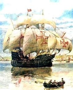 Portuguese carrack / galleon - most likely used to trade with the orient through the cape of good hope Portuguese Empire, Portuguese Culture, History Of Portugal, Old Sailing Ships, Ship Drawing, Medieval World, Nautical Art, Knights Templar, Shipwreck