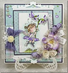 LOTV - Flower Dance with papers from the Promises pad by DT Gretha 3d Cards, Cute Cards, Flower Dance, Poppy Cards, Mo Manning, Penny Black, Lily Of The Valley, Little Books, Copics