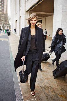 Trouser, loose blazer, sheer top, strappy heels and overcoat