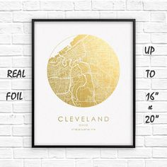 Cleveland City 16x20 City Map Gold Print Real