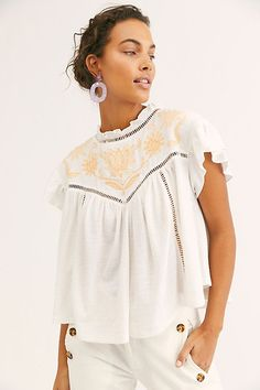 5683f803514b8f Gingerlily Tee - White Blouse with Floral Embroidery at Neckline - Ruffle  Neck White Short Sleeve