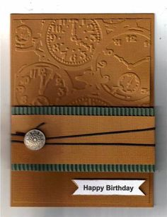 A member of SplitCoastStampers going by MartiCards created this nice masculine card. I have some of the textured surface cardstock that has been neglected for quite awhile, but can see I need to pull it out to use some with other embossing folders I have. Masculine Birthday Cards, Birthday Cards For Men, Handmade Birthday Cards, Masculine Cards, Greeting Cards Handmade, Male Birthday, Birthday Ideas, Boy Cards, Cute Cards