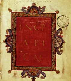 Front page of Vatican copy of Apicius, 9th century