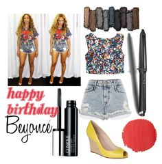 """""""beyonce"""" by edsny ❤ liked on Polyvore featuring Clinique, River Island, Saloni, L.K.Bennett, GHD, Urban Decay, Burberry, Beyonce and happybirthdaybeyonce"""