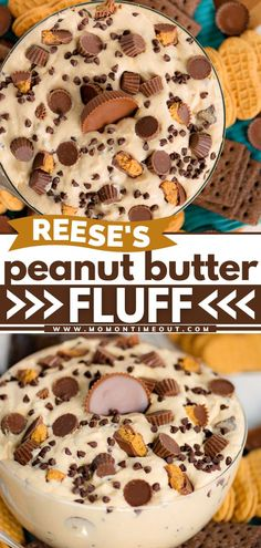 Your new favorite dessert to bring to a party! This easy fluff recipe is simply loaded with peanut butter flavor and Reese's candies. Surround this delicious dessert dip idea with fresh fruit or… Easy No Bake Desserts, Best Dessert Recipes, Easy Desserts, Delicious Desserts, Yummy Food, Healthier Desserts, No Bake Treats, Desert Recipes, Recipes Dinner