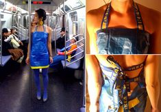 thedailywhat: IKEA Hack of the Day: The IKEA blue bag halter dress by Parsons School of Design professor Adriana Young. [nopuedocreer.]   I made a totally ganky version of this for my Halloween costume two years ago. Included using the straps for a rad headband, the free paper rulers as a belt and a bag-dress that would NOT stay up.