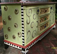 Hand Painted Funky, Whimsical Dresser with Large Studded Sides and Stripes, Diamonds and Swirls