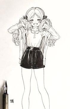 이쁜거 Art Anime, Anime Kunst, Anime Artwork, Sketch Manga, Manga Drawing, Drawing Sketches, Character Art, Character Design, Wie Zeichnet Man Manga