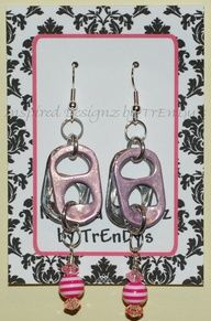 Pink Pearl Soda Pop Aluminum Can Pull Tab Fashion Earrings by InspiredDesignzByJK