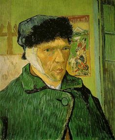 This self portrait (1889) though the brushstrokes are controlled and considered the luminous green that envelops the background and the artist's bandaged face creates tension and an unworldly atmosphere. Behind the artist on the wall is a copy of a Japanese print, Utagawa Togokuni's Geishas in a Landscape. The bright foreign landscape is in total contrast to the artist huddled in his winter clothes, and possibly alludes to the fragmentation of his dreams for an artists' colony in the south.