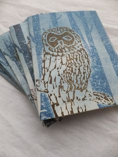 Beautiful cards made by my dear friend.  Winter OWL cards, Gift set of 6, Hand-Carved Stamp. $15.00, via Etsy.