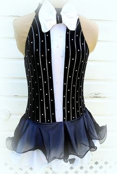 Black & White Tuxedo Figure Skating Dress by joshuajewelskate, $400.00