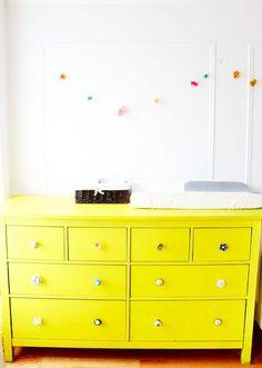 Ikea Hemnes dresser painted bright yellow: