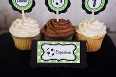 Soccer Food Tents Birthday Party - Green & Black