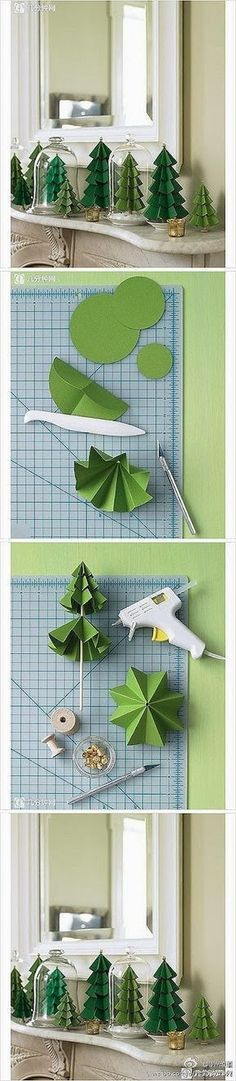 Diy Christmas trees made of green paper