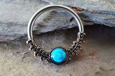 Septum Ring Blue Fire Opal Hoop Cartilage Nipple Conch Daith