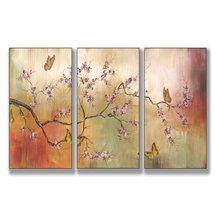 Walmart: Stupell Industries Pink Blossoms and Butterflies Triptych Wall Art