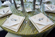 Use White Square plates and rotate one to create a geometric look.