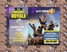 Fortnite Birthday Party Personalized Invitations Custom Birthday Invitations, Personalized Invitations, 11th Birthday, Birthday Parties, Birthday Cakes, Teen Boy Party, Creative Kids, Rsvp, Birthdays