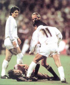 1987, 8 de abril. Juanito pisa a Matthäus en el Real Madrid 4 - Bayer de Munich 1