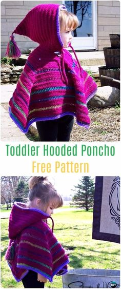 Crochet Toddler Hooded Poncho Free Patterns - Crochet Kids Capes & Poncho Free Patterns Crochet Kids Capes & Poncho Free Patterns Instructions: baby and Kids capes, kids poncho for Spring, Autumn Poncho Season Tutorials Toddler Poncho, Girls Poncho, Crochet Toddler, Crochet Kids Hats, Crochet Clothes, Crochet Baby, Irish Crochet, Crochet Gifts, Sewing Clothes