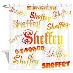 Sheffey Fonts - Orange, Red and Yellow - 9675 Shower curtain, or photo backdrop