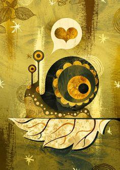 The Enamored Snail Art Print