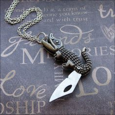 Alligator Pocket Knife Necklace  Enchanted by TheEnchantedLocket, $25.00