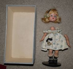 "Vtg 1949 Painted Eye Strung 8"" VOGUE GINNY Factory Original Joyce Doll + Box #DollswithClothingAccessories"