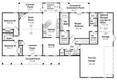 Country Farmhouse Ranch    Southern House Plan 59037