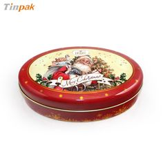 small oval christmas chocolate tin