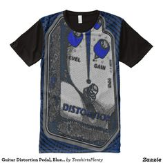 Guitar Distortion Pedal, Blue/Grey All-Over Print T-shirt #distortion #pedal #guitar http://www.zazzle.com/teeshirtsplenty?rf=238806092629186307