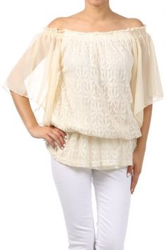 100 percent Polyester 1S/1M/1L Per Pack Off White (shown), White, Black This HIGH QUALITY top is VERY CUTE!! Made from a super soft and comfortable fabric, this beautiful solid embroidered lace off the shoulder top with ruffle hem is hand washable, and fits true to size.