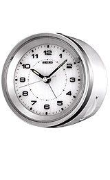 Seiko Travel Alarm Clock - White Case - Silver Accents - Quiet Sweep Second Hand Travel Alarm Clock, Alarm Clocks, Tabletop Clocks, Halloween Sale, W 6, Seiko, Bedside, Metal, Silver