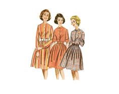 Classic shirt dress with full skirt, sleeve variations and barrel cuffs - 1960s Complete Original Butterick #2322