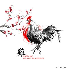year of the rooster | Illustration: Greeting card Chinese new year. A crowing rooster, a sun ...