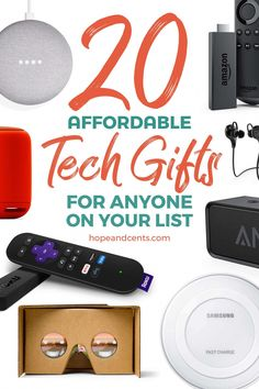 Love these gift ideas! At $50 or less, these affordable tech gifts are perfect for anyone on your list including yourself! Do your holiday shopping without blowing the budget or going into debt. via Alaya @ Hope+Cents | Money Saving Tips | Frugal Living | Budgeting | Dumping Debt #BudgetDestination