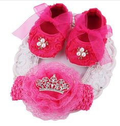 Farook-Newborn Baby Girl Shoes Headband Set(Shoe US Size: ** To view further for this item, visit the image link.