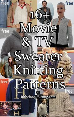 Knitting Patterns for Sweaters Inspired by Movies and Television Series. Most patterns are free.