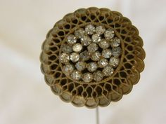 Antique Victorian Filigree Rhinestone Hat Pin