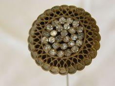Antique Victorian Filigree Rhinestone Hat Pin