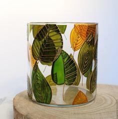 Купить Ваза стеклянная цилиндр с ручной росписью. - зеленый, ваза стеклянная, купить стеклянную вазу