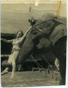 A girl and her elephant c.1948