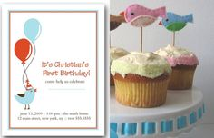 birdie birthday party theme :: invites and cupcake toppers