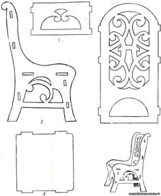 Basic Chair - Could be adapted to form a bench. Cardboard Furniture, Cardboard Crafts, Barbie Furniture, Wood Crafts, Diy And Crafts, Paper Crafts, Miniature Furniture, Dollhouse Furniture, Miniature Chair