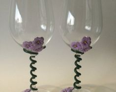 Wine glasses Wine glass Decorated wine glasses by GenesaGarden