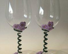 Wine glasses Wine glass Decorated wine glasses by GenesaGarden