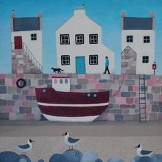"""Tide's Oot"" A Scottish village scene with a fishing boat and black headed gulls from Scotland by Ailsa Black illustrator."