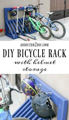 Simple DIY Kid's Bicycle Rack with Helmet Storage Keep bikes, scooters, AND helmets stored neatly with this DIY Bicycle Rack! Check out the step-by- Garage House, Diy Garage, Garage Storage, Garage Ideas, Garage Organization Bikes, Clean Garage, Organization Hacks, Built In Storage, Storage Spaces
